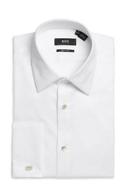 BOSS - Regular Fit, Modified Point Collar Cotton French Cuff Tuxedo Shirt