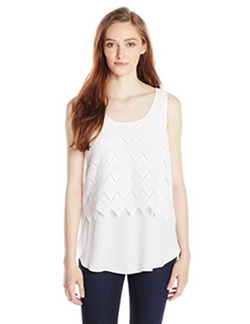 Karen Kane  - Layered Scallop Lace Tank Top