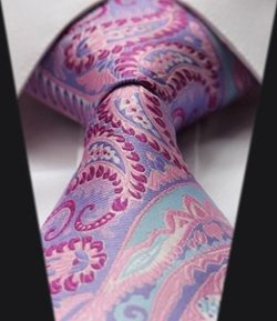 "Other - Purple Pink Floral Paisley 100% Silk 3.4"" New Jacquard Woven Classic Man"