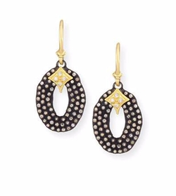 Armenta   - Midnight Oval Drop Earrings with Diamonds