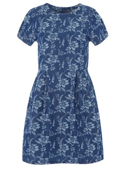 Dorothy Perkins - Mid Wash Denim Floral Dress