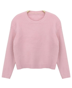 Chicnova - Pure Color Rabbit Hair Pullover Sweater