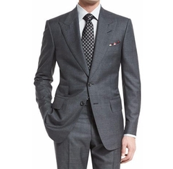 Tom Ford - Windsor Base Peak-Lapel Irregular-Check Suit