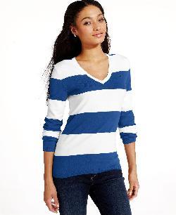 Tommy Hilfiger  - Long-Sleeve Striped V-Neck Sweater