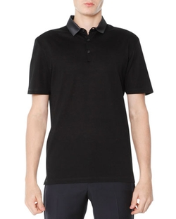 Lanvin	  - Grosgrain-Collar Polo Shirt