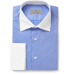Canali   - Blue Contrast-collar Cotton Shirt