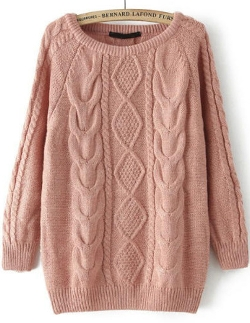 Romwe - Cable Knit Loose Sweater