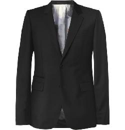 GIVENCHY   - SLIM-FIT PRINT-LINED WOOL-BLEND BLAZER