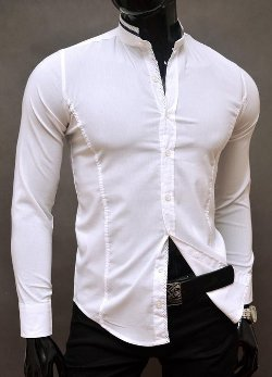 D&R Fashion - Formal Stand-Up Collar Slim Fit Decorative Fastening Shirt