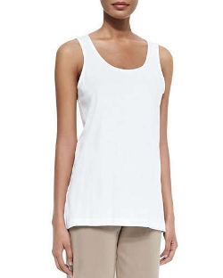 Joan Vass  - Scoop-Neck Cotton Interlock Tank