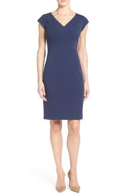 Classiques Entier - Ponte Knit V-Neck Sheath Dress