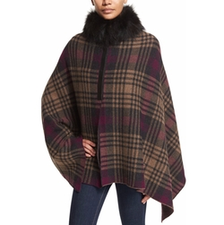 Inverni - Plaid Fur-Trim Poncho