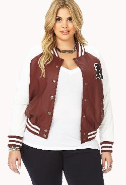 FOREVER 21 - Too Cool Faux Leather Varsity Jacket