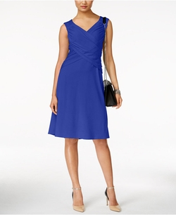NY Collection - Faux-Wrap Crossover Dress