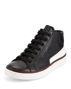 Prada  - Leather Mid-Top Sneaker