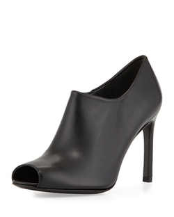 Stuart Weitzman  - Altamira Leather Peep-Toe Bootie