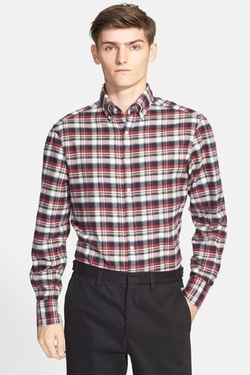 Michael Bastian  - Trim Fit Plaid Flannel Shirt