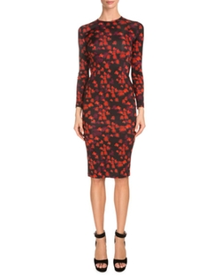 Givenchy  - Long-Sleeve Floral-Print Sheath Dress