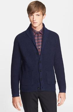 Burberry London  - Shawl Collar Cashmere & Wool Cardigan