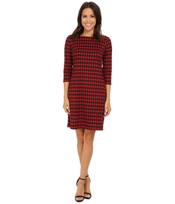 Nine West - Houndstooth Printed Ponte T-Shirt Dress