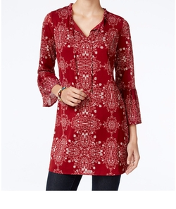 Style & Co.  - Printed Bell-Sleeve Tunic