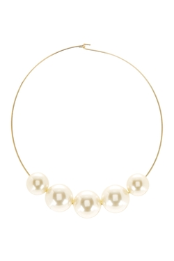 Kenneth Jay Lane - Faux Pearl Graduated Station Necklace