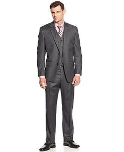 Michael Kors   - Charcoal Track Stripe Vested Suit