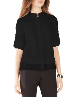 BCBGmaxazria - Kaikee Silk-Trimmed Button-Down Shirt