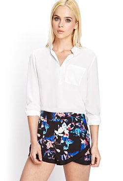 Forever 21 - Mandarin Collar Pocket Blouse