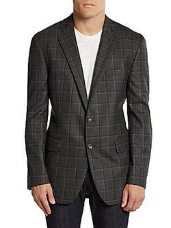 Saks Fifth Avenue BLACK  - Classic-Fit Wool Checked Jacket