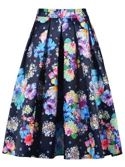 Choies - Colorful Floral Navy Midi Skirt