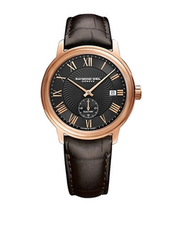 Raymond Weil  - Stainless Steel Crocodile Embossed Leather Strap Watch
