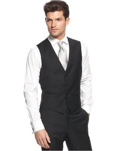 Calvin Klein  - Vest Black Solid 100% Wool Slim Fit