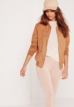 Missguided - Faux Suede Zipped Bomber Jacket