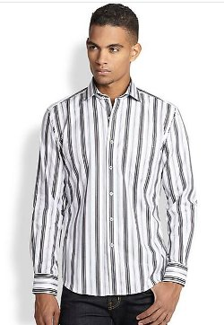 Bugatchi - Thin-Striped Cotton Sportshirt