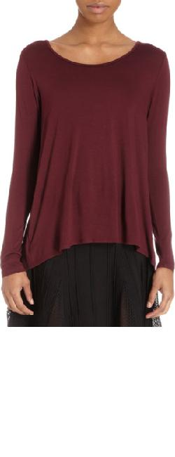 BARNEYS NEW YORK  - Draped-Back Long-Sleeve T-Shirt