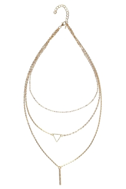 Boohoo - Sarah Triangle And Bar Layered Necklace