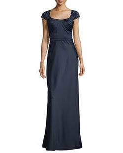 La Femme  - Embellished Cap-Sleeve Satin Gown