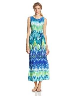 Sandra Darren - Sleeveless Printed Self-Tie Maxi Dress