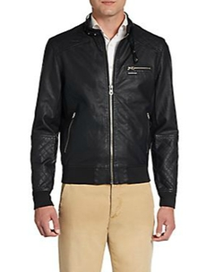 Members Only - Faux Leather Quilted Moto Jacket