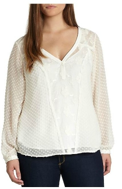 Beyond Vintage - Jill Lace-Paneled Silk Swiss Dot Blouse