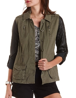 Charlotte Russe - Faux Leather & Twill Utility Jacket