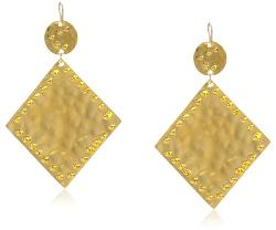 Devon Leigh  - Gold Dipped Hammered Diamond Shape Drop Earrings