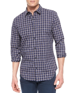 7 For All Mankind - Long-Sleeve Plaid Sport Shirt