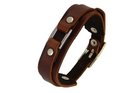 BrownBeans - Buckle Brown Leather Cuff Bracelet