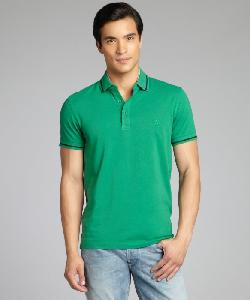 ERMENEGILDO ZEGNA - Green And Black Cotton Pique Layered Collar Polo Shirt
