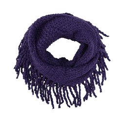 Simplicity - Crochet Neck Warmer in Fringed Knit Scarf