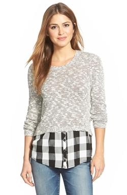 kensie  - Layered Look Slub Knit Sweater