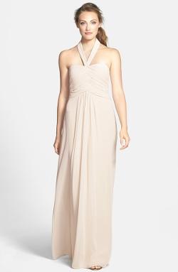ML Monique Lhuillier Bridesmaids - Convertible Chiffon Halter Gown
