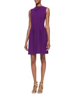 Roland Mouret - Antila Sleeveless Pleated-Skirt Dress